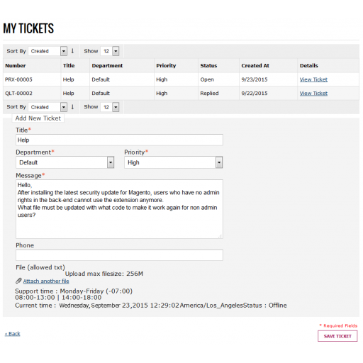 Magento Help desk user tickets on the frontend