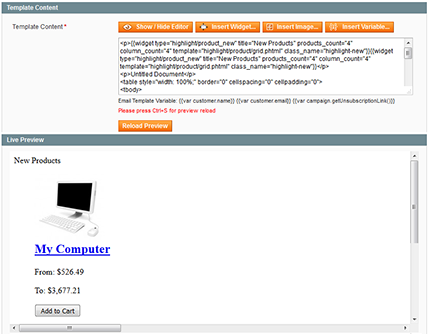 Creating newsletter campaigns. Template content preview option